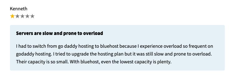 godaddy testimonial to bad hosting service